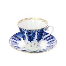 Фарфоровая чайная пара с рисунком Корзиночка