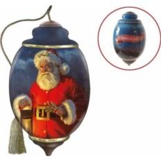 Стеклянное елочное украшение Дед Мороз