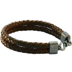 Двойной плетеный кожаный браслет Double bolo