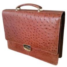 Мужской портфель из натуральной кожи страуса