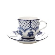 Чайная пара с художественной росписью Гжель