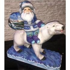 Игрушка из дерева Дед Мороз на медведе