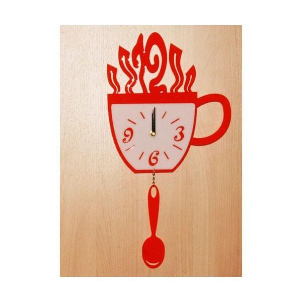 Часы Чашка и ложка, красные