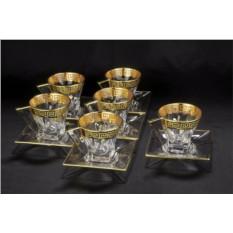 Набор для чая на 6 персон с золотом Same Cristallerie