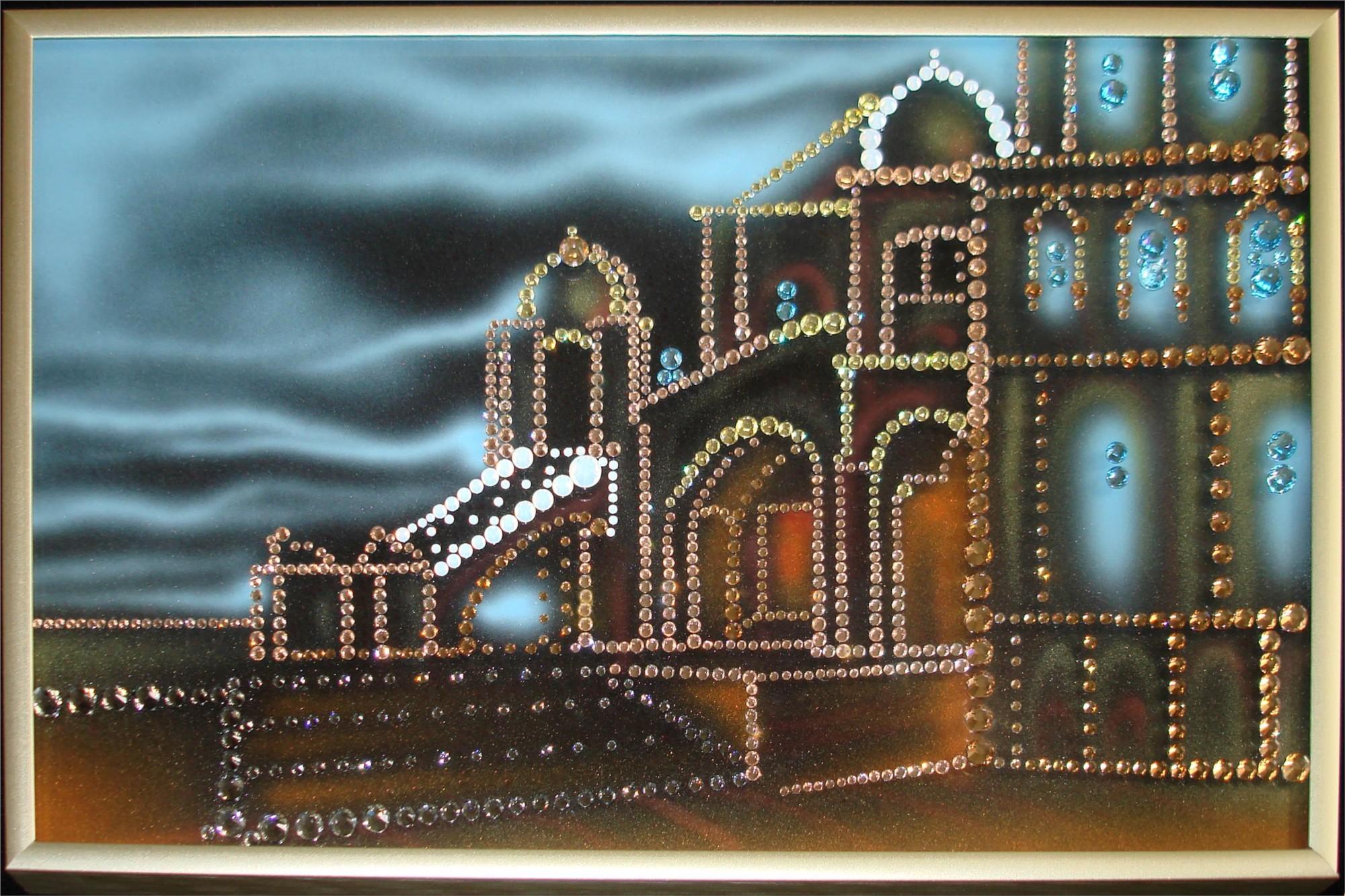 Картина Swarovski Город