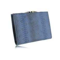 Женский кошелек из кожи водяной змеи (цвет - голубой джинс)