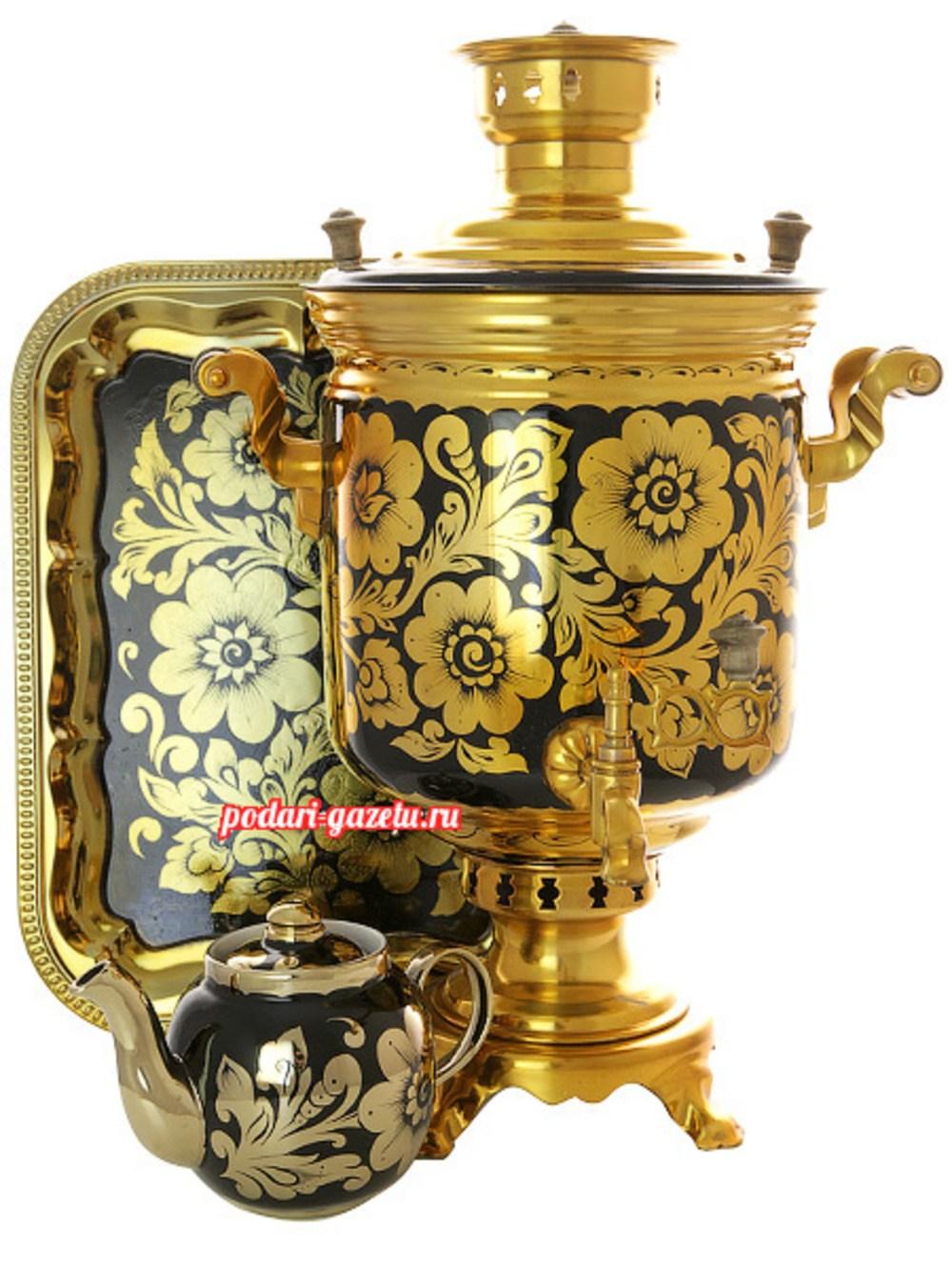 Набор: угольный самовар (жаровый, дровяной, на дровах) 5 литров цилиндр с художественной росписью Золотая хохлома
