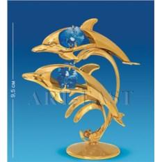 Фигурка с цветными кристаллами Swarovski Дельфины