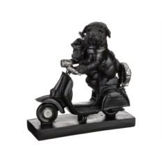 Малая черная фигурка Собаки на мопеде из серии Ретро