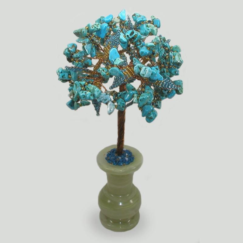 Дерево мира и семьи из бирюзы в вазочке из оникса
