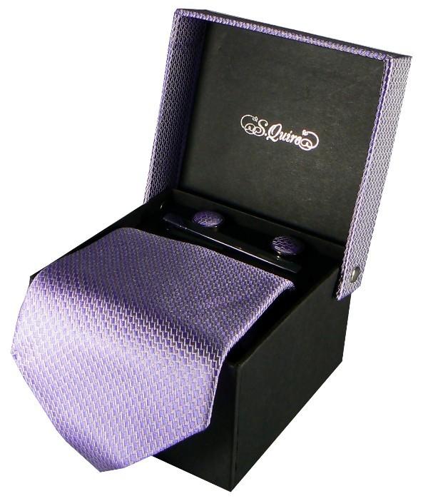 Набор из галстука, запонок и заколки S.Quire, сирень