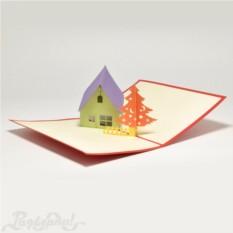 Объемная открытка 3D Домик и елка