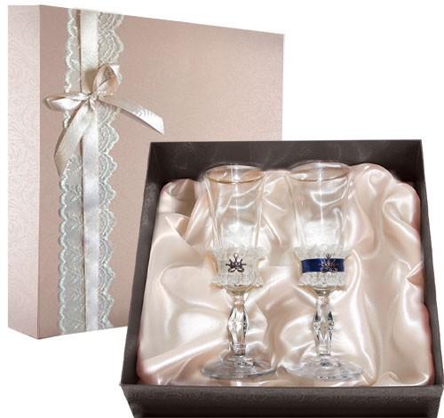 Набор свадебных бокалов в подарочной коробке Ретро №9
