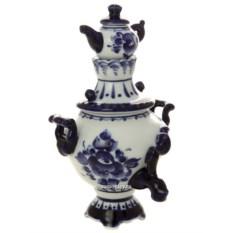 Сувенирный самовар с заварочным чайником Гжель