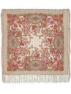 Павлопосадский платок с рисунком Кумушка