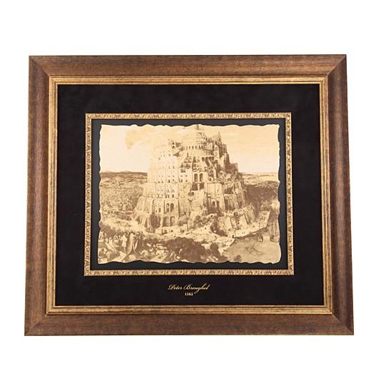 Картина на коже Вавилонская башня