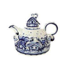 Заварочный керамический чайник Гжель с росписью Деревенька