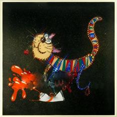 Картина из кристаллов «Кошка приколистка»