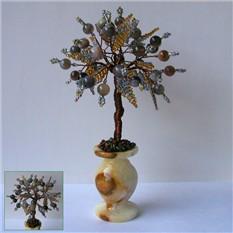 Дерево счастья из бразильского агата в вазочке из оникса