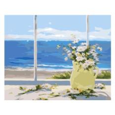 Картины по номерам «Цветы у моря»