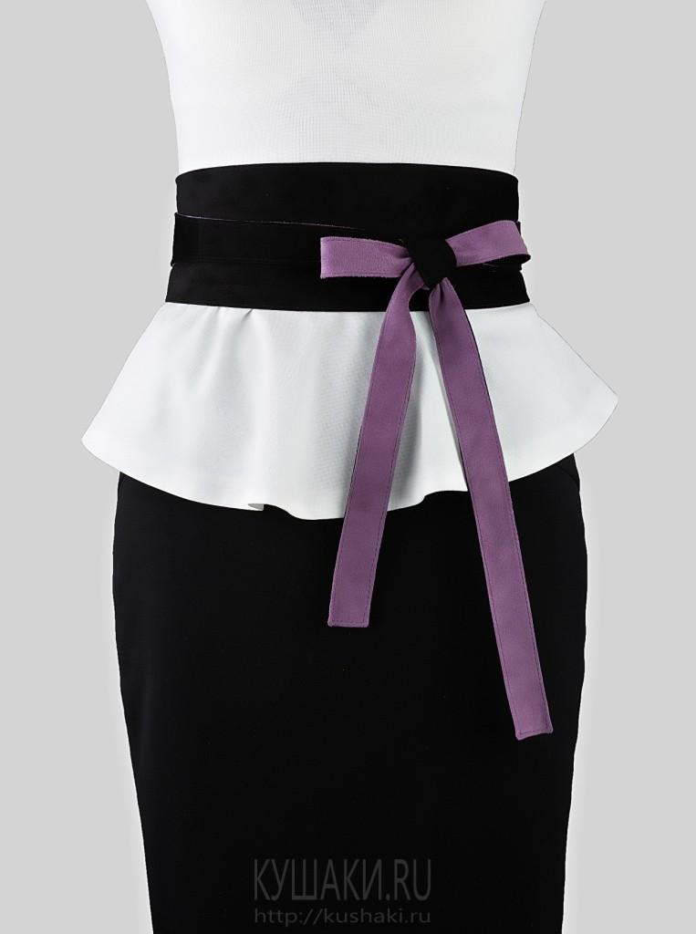 Замшевый двусторонний пояс Violet & Black, 10 см
