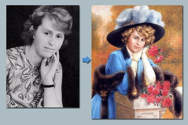 Портрет девушки на холсте по фото