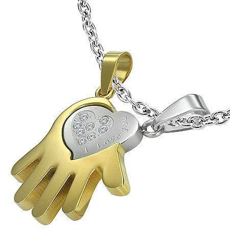 Парный кулон Рука и сердце только для тебя