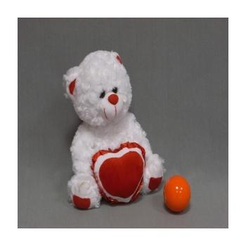 Мишка с сердечком белый музыкальный