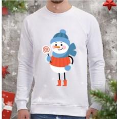 Белый мужской свитшот Снеговик с леденцом