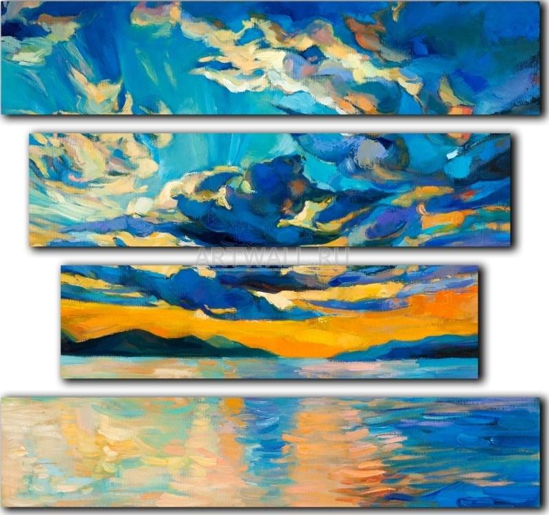 Модульная картина «Закат на море» 80×75 см