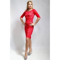 Гипюровое платье, красное