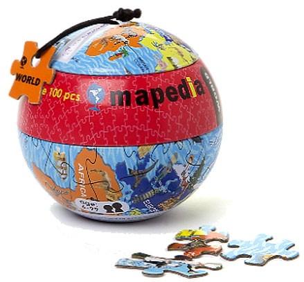 Пазл в металлическом шаре «Карта Мира»