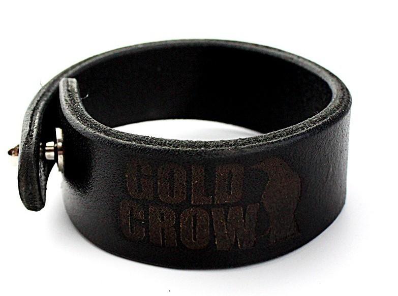 Мужской кожаный браслет Gold Crow