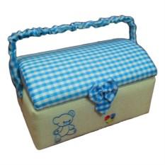 Голубая шкатулка для рукоделия с подносом, 28х18х15,6 см