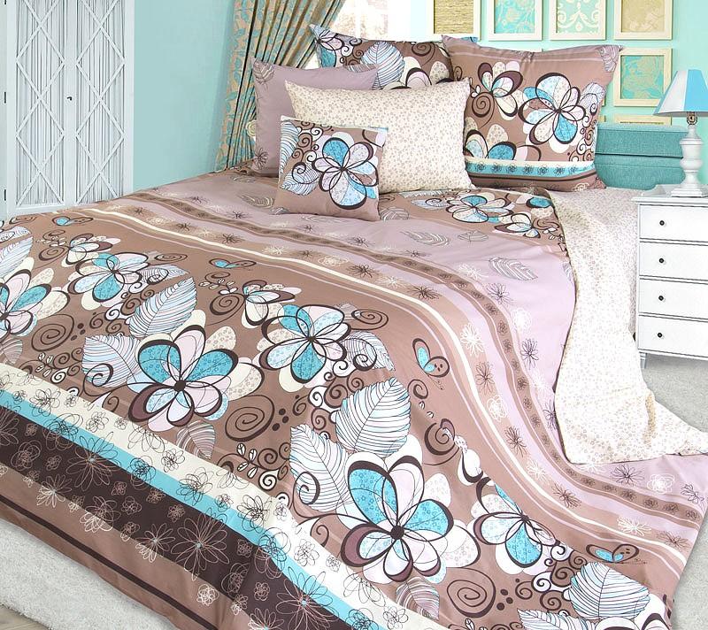 Комплект постельного белья Серпантин коричневый (перкаль)