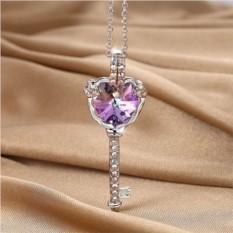 Кулон с фиолетовым кристаллом Сваровски «Ключ»