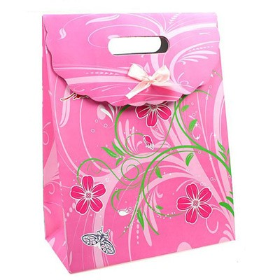 Пакет-коробочка «Розовые сердца»