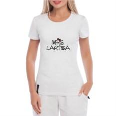 Белая именная женская футболка Миссис