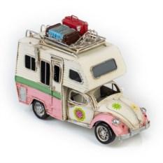 Ретро-модель Бело-розовый фургон с фоторамкой