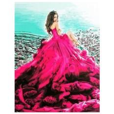 Картина-раскраска по номерам на холсте Алое платье