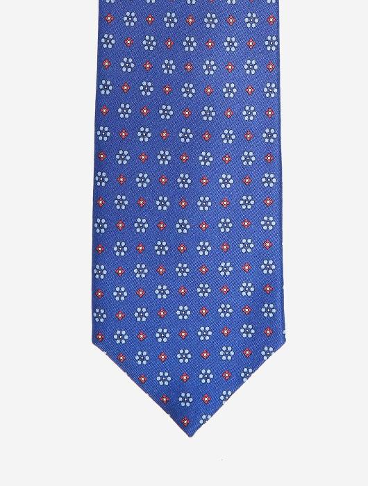 Синий галстук Calabrese с узором красных и голубых тонов
