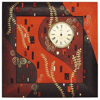Часы из натуральной кожи (цвет - черно-оранжевый)