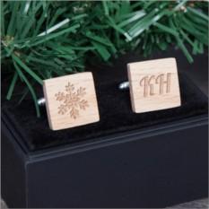 Деревянные запонки Новогодние узоры с гравировкой