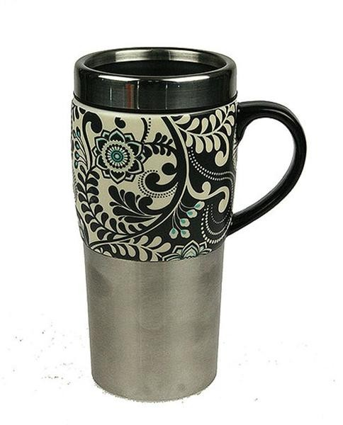 Термокружка для чая и кофе Цветочный узор