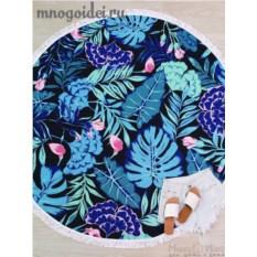 Круглое пляжное полотенце с бахромой Тропическая ночь