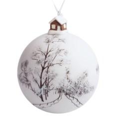 Елочный шар с фигуркой «Заснеженный лес» (10 см)