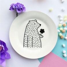 Фарфоровая тарелка Цветочный мишка
