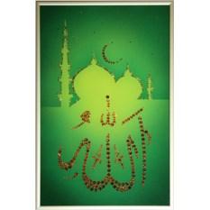 Картина с кристаллами Swarovski на зеленом фоне Аллах