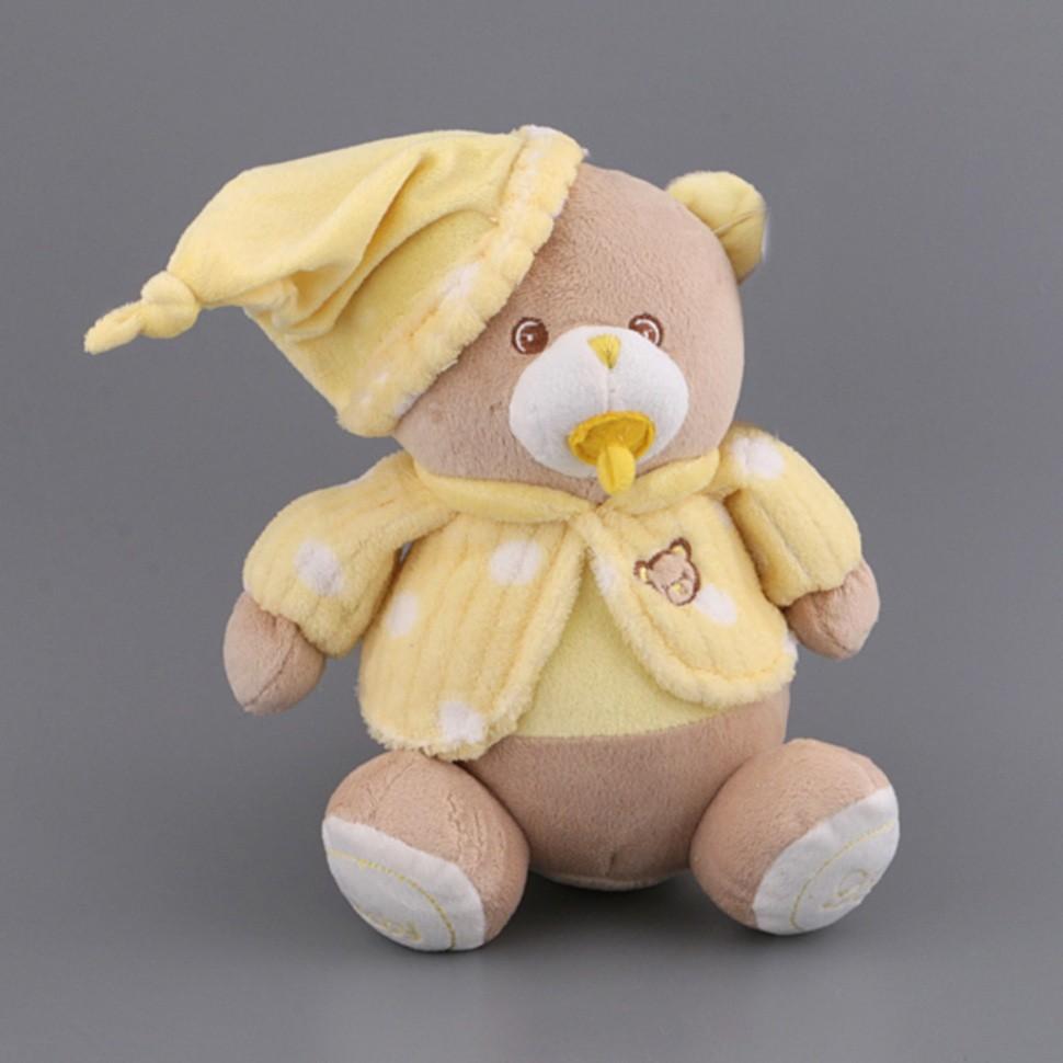 Мягкая игрушка Медвежонок-малыш с соской в желтой кофточке