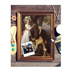 Парный портрет по фото Пара с собакой